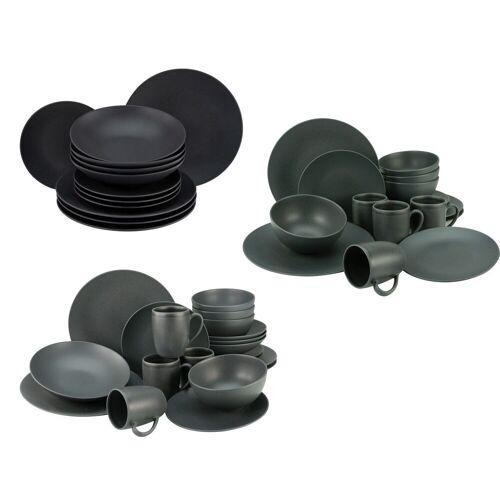 Creatable Steinzeug Geschirr matt schwarz Kombiservice