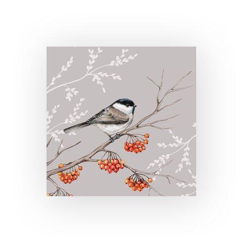 Ambiente Papierserviette »Vogel auf rotem Beerenzweig«, (5 St), 33 cm x 33 cm