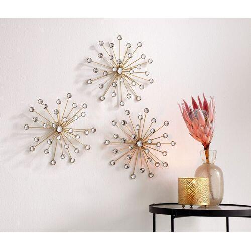 Home-trends24.de Dekoobjekt »Kristallblüte 3er Set Gold Wand-Deko Wandschmuck Wandbild Bild Metall Glassteine« (3 Stück)