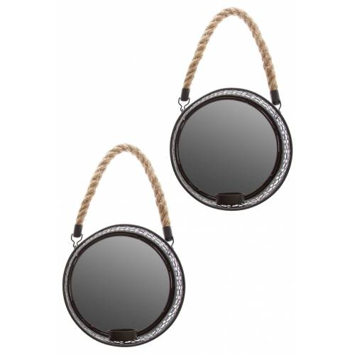elbmöbel Wandkerzenhalter »Spiegelwandblaker 2er Set Kerzenhalter«, Dekoration: 2er Set Wandspiegel mit Kerzenhalter 18x18x6 cm schwarz metall