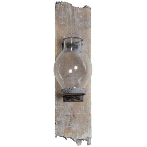 elbmöbel Wandkerzenhalter »Wandkerzenhalter Glas Holz Kerzenhalter«, Wandkerzenhalter Glas Holz Kerzenhalter Windlicht Wandlichtkerzenhalter Teelichthalter