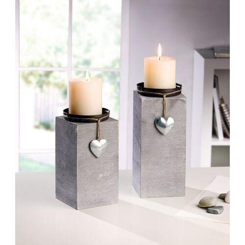 Home-trends24.de Kerzenhalter »Kerzenhalter Teelichthalter Kerzen Deko Windlicht Grau 2er Set«
