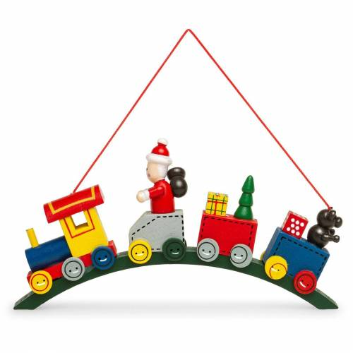SIKORA Christbaumschmuck »BS332 Weihnachtsmann in der Bogen Eisenbahn Holz Weihnachtsbaum Anhänger«