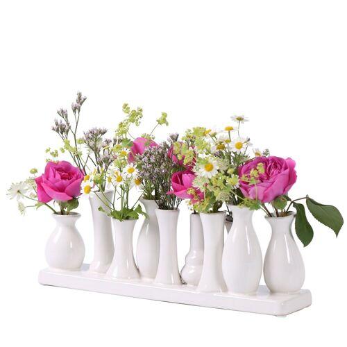 Jinfa Dekovase »® Blumenvasen-Set, verschiedenen Farben und« (10 Vasen Set weiß, 10 Vasen), Weiß 30 cm x 11 cm x 6 cm