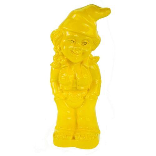 Kremers Schatzkiste Gartenzwerg »Gartenzwerg Zwergenfrau Mandy Gelb Edition 34 cm PVC Zwerg Garten Zwerg Figur«