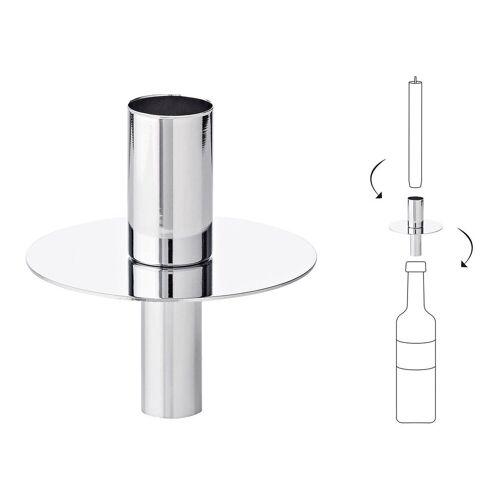 EDZARD Flaschenkerzenhalter »Silber«, Kerzenhalter aus Edelstahl mit Silber-Optik, Flaschen-Aufsatz für Stabkerzen, Höhe 8 cm
