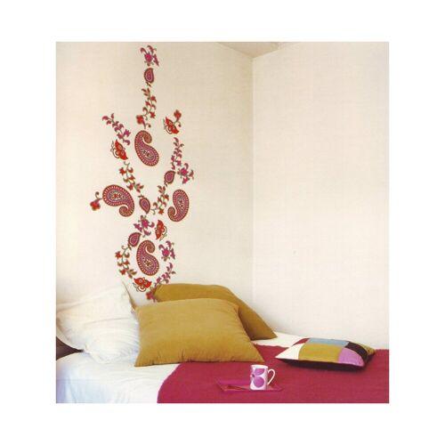 dynamic24 Wandtattoo, 4x XL Wandtattoo Set Wandsticker Wand Aufkleber Blumen Ornamente Tattoo Sticker rot