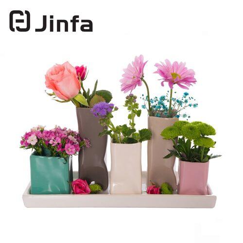 Jinfa Dekovase »® Blumenvasen-Set, verschiedenen Farben und« (5 Vasen Set bunt, 5 Vasen), Bunt 11 cm x 16 cm x 29,5 cm