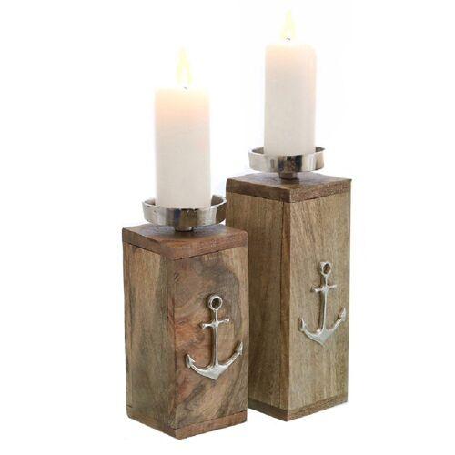 """Parts4Living Kerzenständer »Kerzenständer """"Anker"""" Kerzenhalter im 2er Set aus Mangoholz natur mit Aluminium 8,5x9x21cm & 8,5x9x25 cm« (Set, 2er Set), rustikale Optik"""