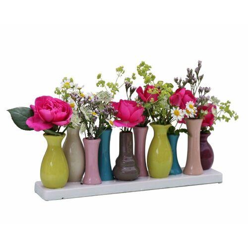Jinfa Dekovase »® Blumenvasen-Set, verschiedenen Farben und« (10 Vasen Set bunt, 10 Vasen), Bunt 30 cm x 11 cm x 6 cm