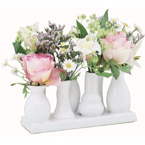 Jinfa Dekovase »® Blumenvasen-Set, verschiedenen Farben und« (7 Vasen Set weiß, 7 Vasen), Weiß 18 cm x 11 cm x 7 cm