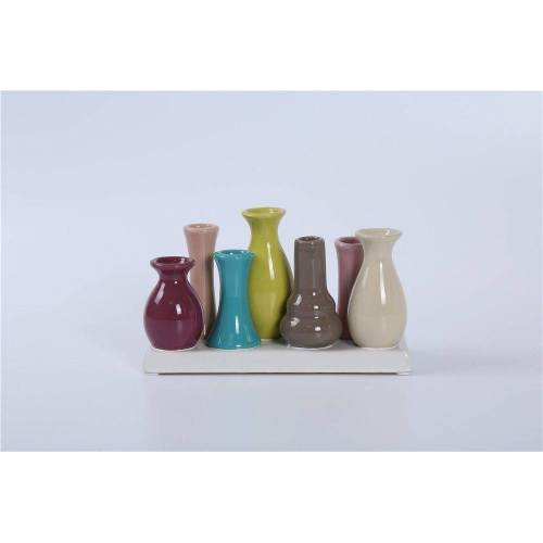 Jinfa Dekovase »® Blumenvasen-Set, verschiedenen Farben und« (7 Vasen Set Bunt, 7 Vasen), Bunt 18 cm x 11 cm x 7 cm