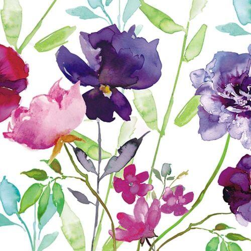 Linoows Papierserviette »20 Servietten Sommer, Rosen, Lilien und Bunte«, Motiv Sommer, Rosen, Lilien und Bunte Blumen