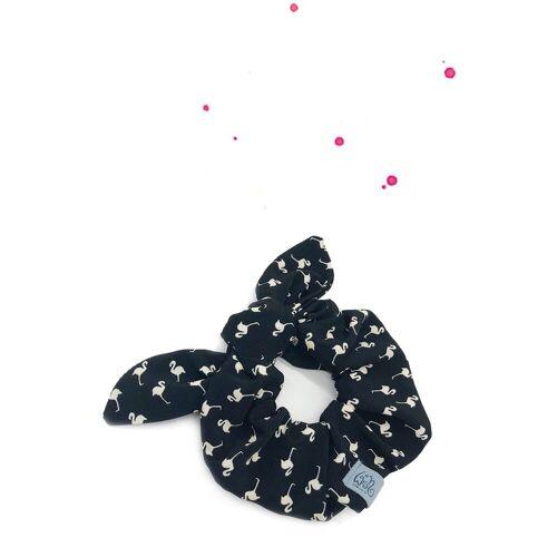 Wishproject® Haargummi »Hochwertiges Scrunchie mit Schleife, Zitronenlimo Bunny, XXL Haargummi«, Angenehmer Tragekomfort ohne Metall, Hergestellt in Deutschland, Black Flamingo