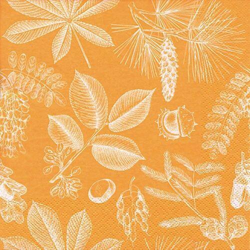 Linoows Papierserviette »20 Servietten, Früchte und Blätter des Waldes in«, Motiv Früchte und Blätter des Waldes in Orange