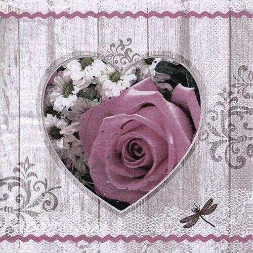 Linoows Papierserviette »20 Servietten Sommer, Herz mit antiker Rose und«, Motiv Sommer, Herz mit antiker Rose und Blumen