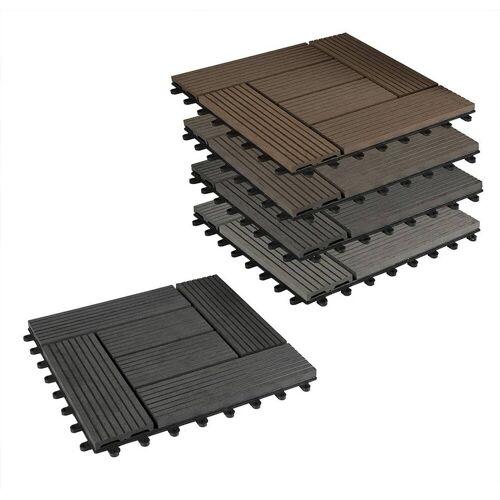 Woltu Terrassenfliesen, 22er-Set WPC Terrassenfliese,2 m², grau