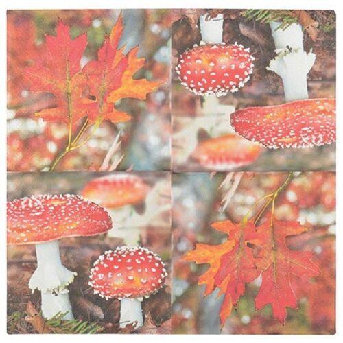 Linoows Papierserviette »20 Servietten Herbstzeit, Fliegenpilze und buntes«, Motiv Fliegenpilze und buntes Laub