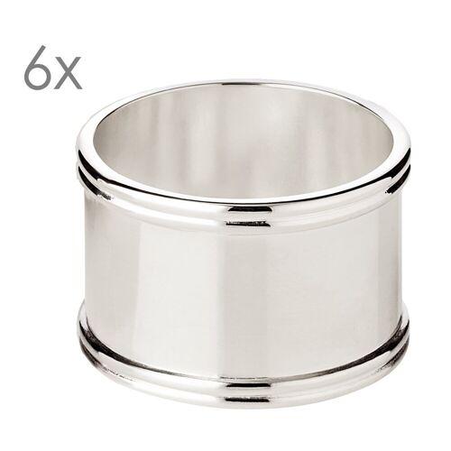 EDZARD Serviettenring »Madrid«, Stahl, (6er-Set), Ringe für Stoffservietten und Papierservietten, Serviettenhalter als Tischdeko mit Silber-Optik für Hochzeit und Weihnachten, edel versilbert