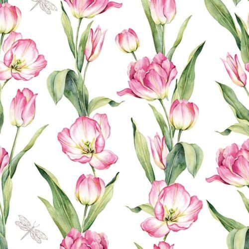 Linoows Papierserviette »20 Servietten, Frühling, Ketten farbiger Tulpen«, Motiv Frühling, Tulpenketten