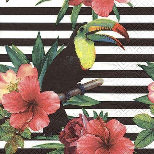Linoows Papierserviette »20 Servietten Tropische Blüten, Tukan Tropical«, Motiv Tropische Blüten und Regenbogen, Tukan