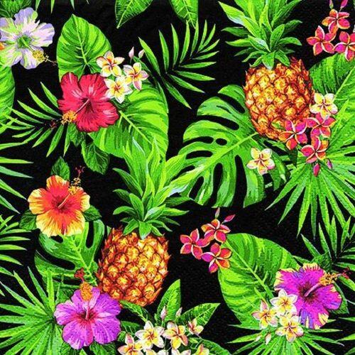 Linoows Papierserviette »20 Servietten Tropen Ananas, Blüten & Palmenblätte«, Motiv Tropen Ananas, Blüten und Palmenblätter schwarz