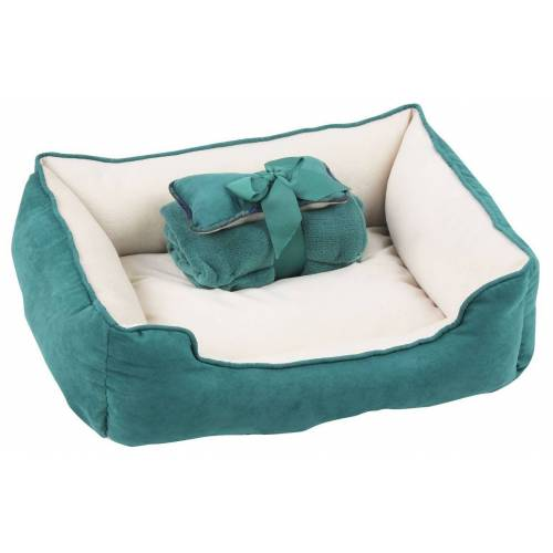 PETGARD Tierbett »Hundebett Hundekissen Hundekorb Hundesofa«, inkl. Spielknochen & Kuscheldecke grün-weiss, grün