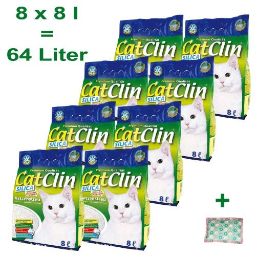 CatClin Katzenstreu »Katzenstreu Silikat Streu 8 x 8 Liter Plus 4Cat Baldrian Kissen«