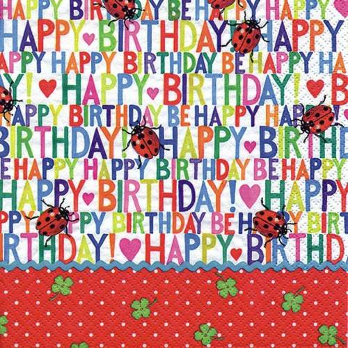 Linoows Papierserviette »20 Servietten, Geburtstag, Happy Birthday und«, Motiv Geburtstag, Happy Birthday und Marienkäfer