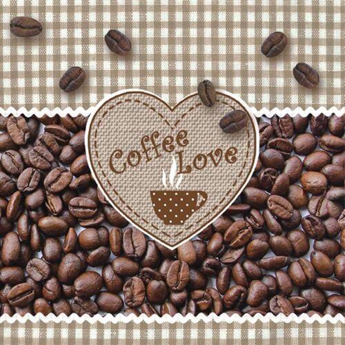 Linoows Papierserviette »20 Servietten, Kaffee Liebe, Coffee, Kaffebohnen«, Motiv Kaffee Liebe, Coffee, Kaffebohnen mit Herz