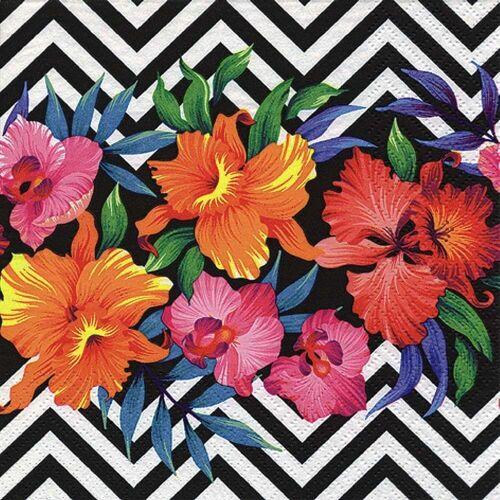 Linoows Papierserviette »20 Servietten Sommer, Sonne, Tropische Blüten auf«, Motiv Sommer, Sonne, Tropische Blüten auf Muster