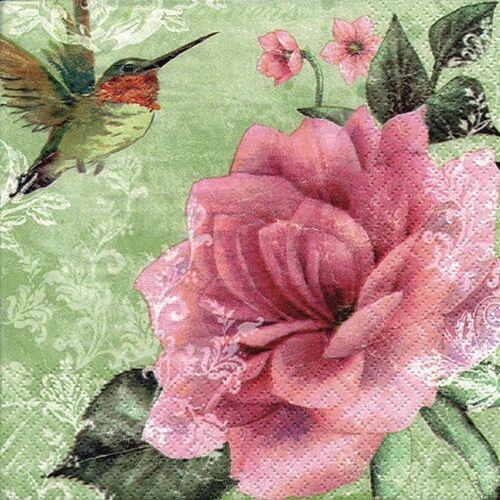 Linoows Papierserviette »20 Servietten Kolibris und Rosen, romantische«, Motiv Kolibris und Rosen, romantische Rosen in Oliv