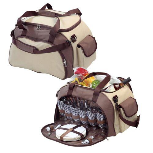 elasto Picknickkorb, Hochwertiger Picknicktasche für 6 Personen, XXL Picknickset 41-TLG, Tasche zum Picknick mit Kühlfach, Wiederverwendbares Geschirr BPA FREI, Camping-Geschirr mit Besteck, Stoffservietten, Weingläser, Salz- und Pfefferstreuer, Flaschenöffner, Käsemesser, Holzschneidebrett, braun