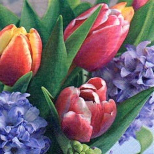Linoows Papierserviette »20 Servietten Tausend Frühlingsgrüße mit Tulpen &«, Motiv Tausend Frühlingsgrüße mit Tulpen & Hyazinthen