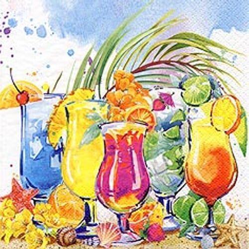 Linoows Papierserviette »20 Servietten Karibik Sommer leckeren farbenfrohen«, Motiv Karibik Sommer mit leckeren farbenfrohen Cocktails