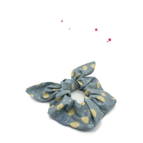 Wishproject® Haargummi »Hochwertiges Scrunchie mit Schleife, Zitronenlimo Bunny, XXL Haargummi«, Angenehmer Tragekomfort ohne Metall, Hergestellt in Deutschland, Zitrone