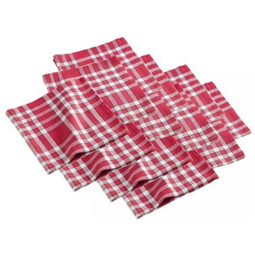 dynamic24 Stoffserviette, (12 St), 12x Landhaus Stoff Tisch Servietten Baumwolle 45x45 rot kariert