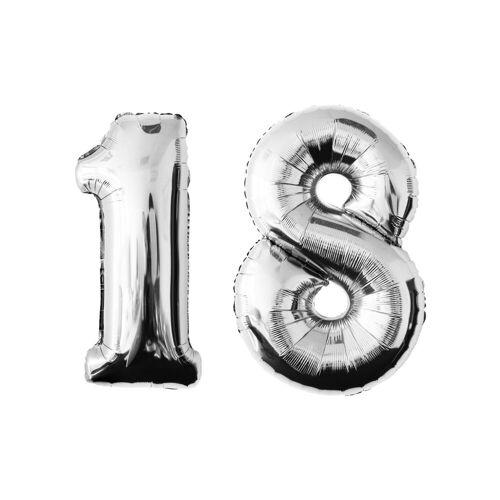 MyBeautyworld24 Folienballon »Folienballon Zahlenballon in der Farbe silber Heliumballon Riesenzahl Geburtstag Deko Höhe 100 cm« 18;20;30;40;50;60;70;80;90