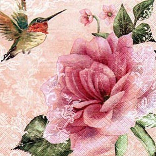Linoows Papierserviette »20 Servietten Kolibris und Rosen, romantische«, Motiv romantische Rosen Motive