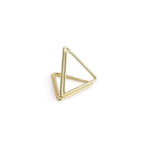 partydeco Tischkartenhalter, Tischkartenhalter Dreieck 2,3cm Metall gold, 10 Stück