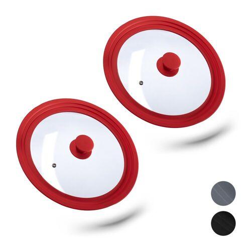 relaxdays Topfdeckel »2 x Topfdeckel 26-30 cm mit Silikon rot«