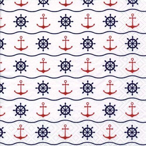 Linoows Papierserviette »20 Servietten Maritime Symbole mit Anker und Steue«, Motiv Maritime Symbole