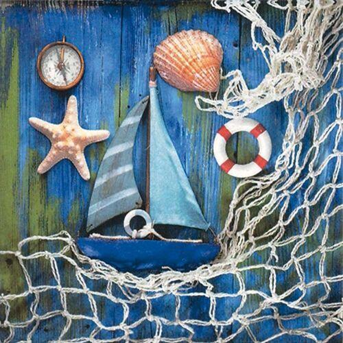 Linoows Papierserviette »20 Servietten Maritim, Fischernetz und Maritime«, Motiv Maritim, Fischernetz und Maritime Kleinode