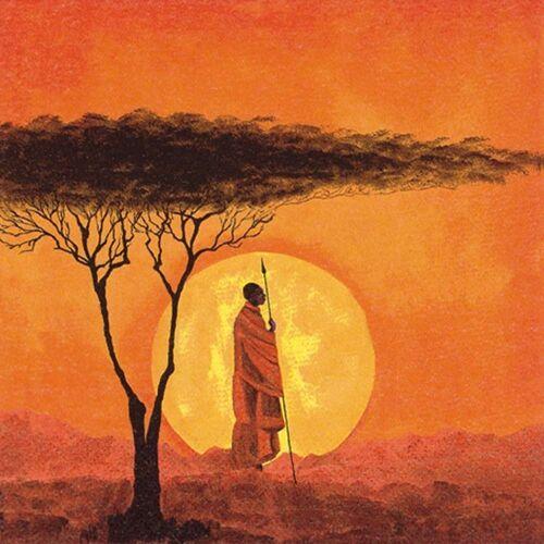 Linoows Papierserviette »20 Servietten, Afrikanischer Sonnenuntergang in«, Motiv Afrikanischer Sonnenuntergang in der Savanne