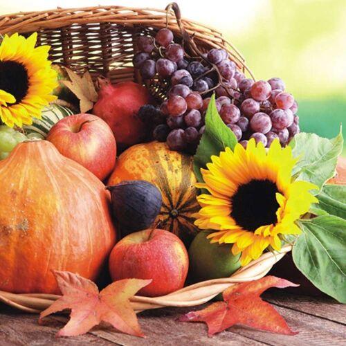 Linoows Papierserviette »20 Servietten, Erntedankfest Korb mit Sonnenblumen«, Motiv Erntedankfest Korb mit Sonnenblumen