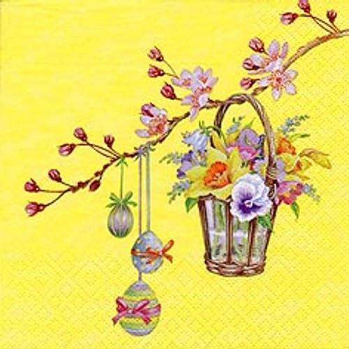 Linoows Papierserviette »20 Servietten Ostern Blütenzweig mit Blumenkorb &«, Motiv Ostern Blütenzweig mit Blumenkorb und Bunte Eier