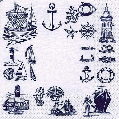 Linoows Papierserviette »20 Servietten Maritime Symbole mit Boote Anker &«, Motiv Maritime Symbole mit Boote Anker & Muscheln