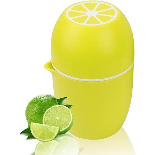 kueatily Zitruspresse Zitronenpresse Einzigartiger Zitronenpresse Manueller Entsafter mit zwei Pressoptionen für verschiedene Früchte, Zitronengelb