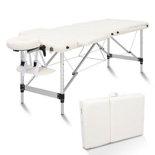 FCH Massageliege »3 Zonen Klappbar Massagetisch« (Set), Mobile Therapieliege Tragbares Massagebett mit Höhenverstellbaren, Weiß