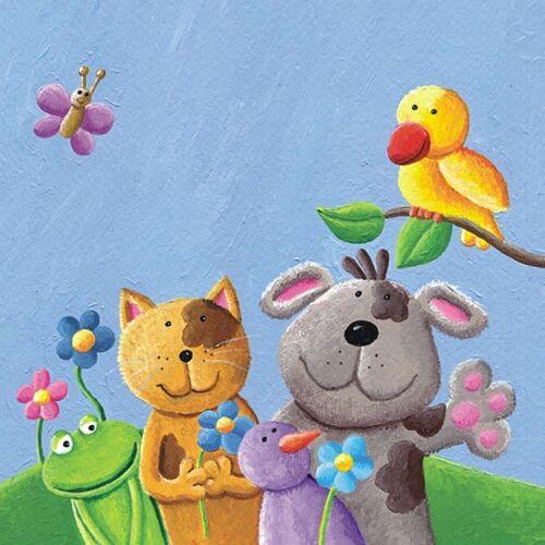Linoows Papierserviette »20 Servietten für Kinder Feiern, Beste Tier Freund«, Motiv für Kinder Feiern, Beste Tier Freunde